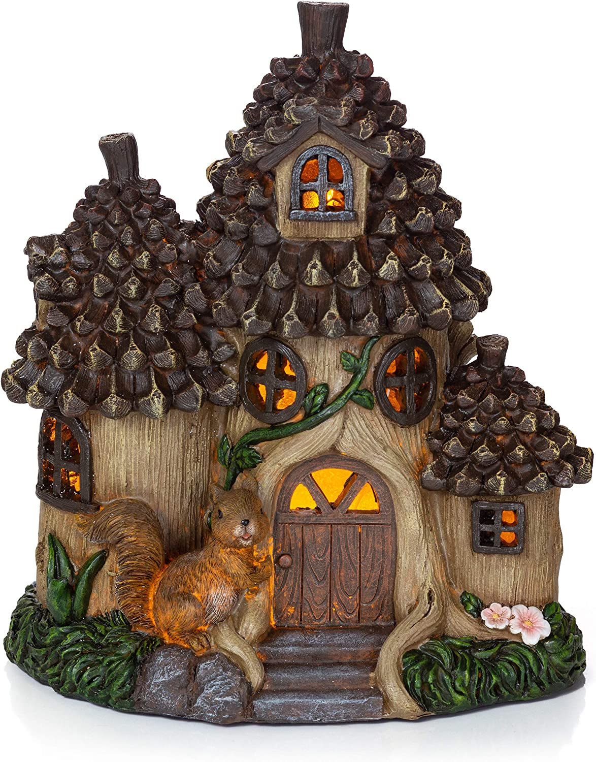 VP Home Pinecone Squirrel Cottage Solar Powered LED Outdoor Decor Garden Light