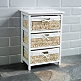 Home Discount® Maize Storage Unit White, 3 Drawer