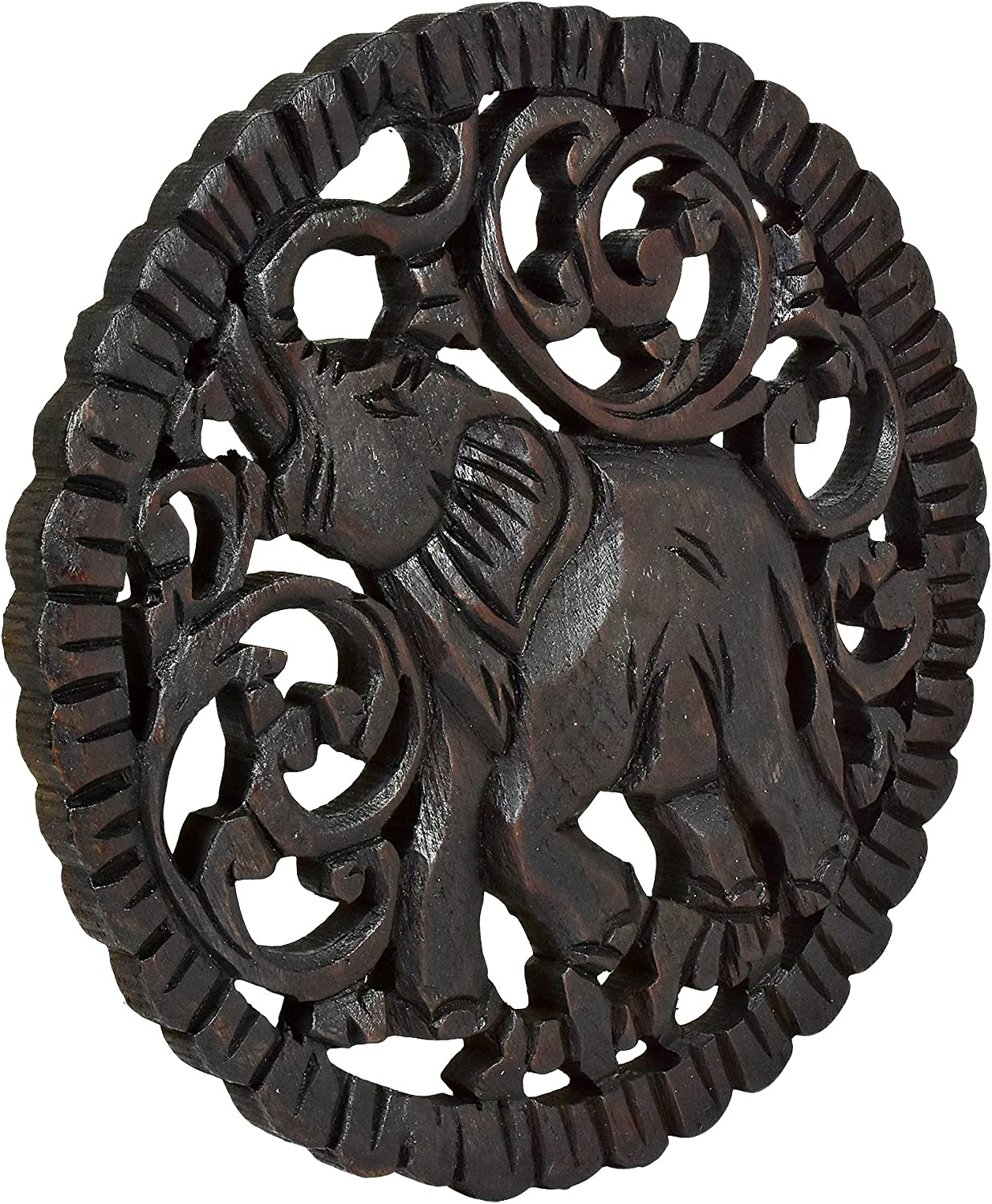 Amazon Com Serenity Elephant Hand Carved Round Teak Wood Wall Art 10 Inches Home Kitchen