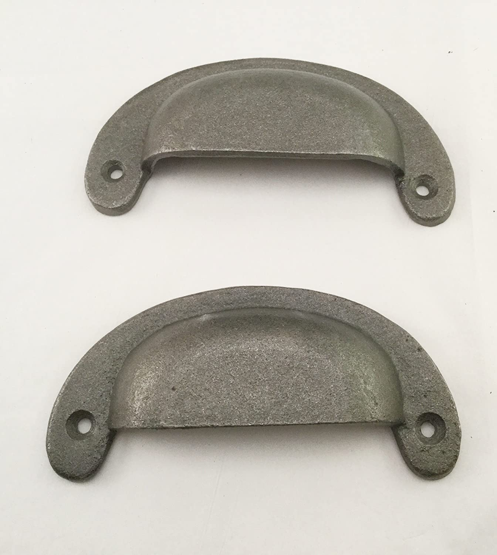 "2 BROWN 5.5/"" SIMPLE DRAWER DOOR CABINET PULLS HANDLES ANTIQUE-STYLE CAST IRON"