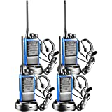 Arcshell Rechargeable Long Range Two-Way Radios with Earpiece 4 Pack UHF 400.025-469.975Mhz Walkie Talkies Li-ion Battery and