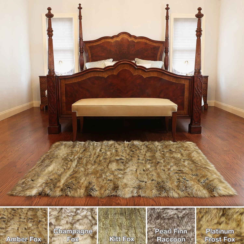 amazon com best home fashion fox faux fur accent rug amber 38