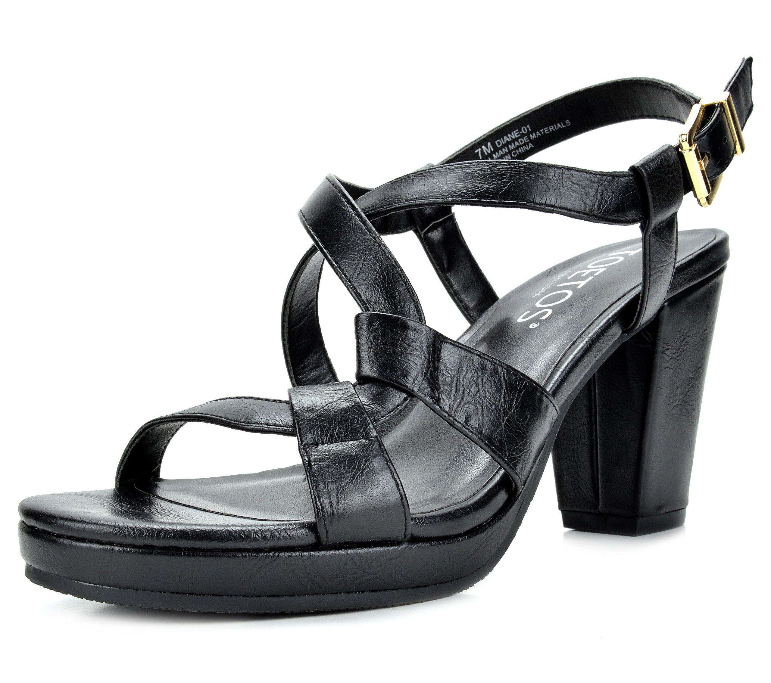 TOETOS DIANE-01 New Women's Cross Strap Open Toes Mid Chunky Heels Platform Dress Sandals Black Size 9