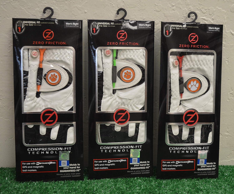 Friction 3 Zero メンズ 右手 ユニバーサル ゴルフグローブ - Clemson Tigers - ホワイト   B07K6W2HC9