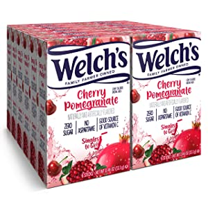 Welch's Singles To Go Water Drink Mix - Cherry Promegranate Powder Sticks (12 Boxes with 6 Packets Each - 72 Total Servings)