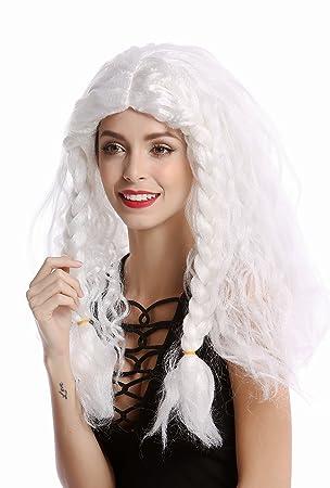 WIG ME UP ® - 91154-ZA68/ZA62 Peluca Mujer Hombre Carnval Halloween Trenzas Gruesas Larga Trenza Trenzado Blanca Vikingo Bárbaro Viejo Princesa de Hielo: ...