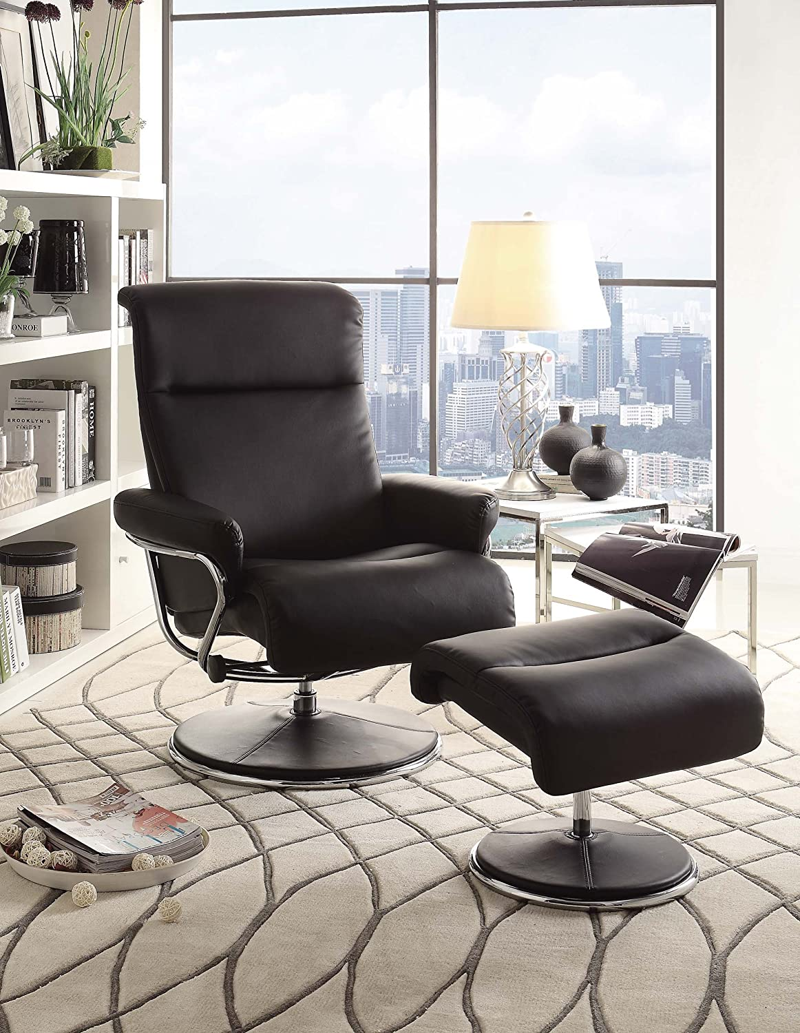 Amazon.com: Homelegance 8550BLK 1 Swivel Reclining Chair With Ottoman,  Black Bonded Leather Match: Kitchen U0026 Dining