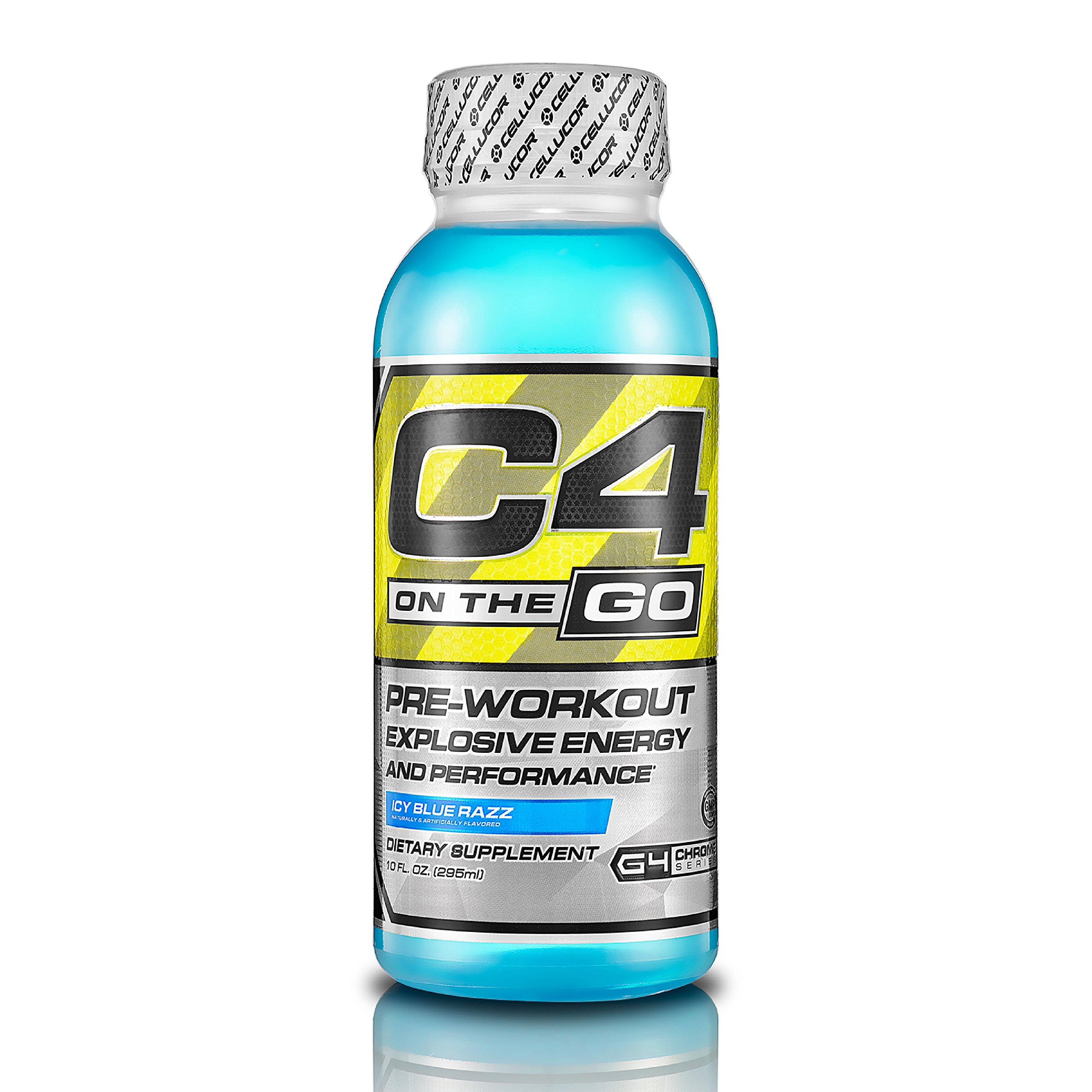 Cellucor, C4 on the Go, Explosive Energy Pre-Workout Supplement, Icy Blue Razz, 10 ounce, 12 Count