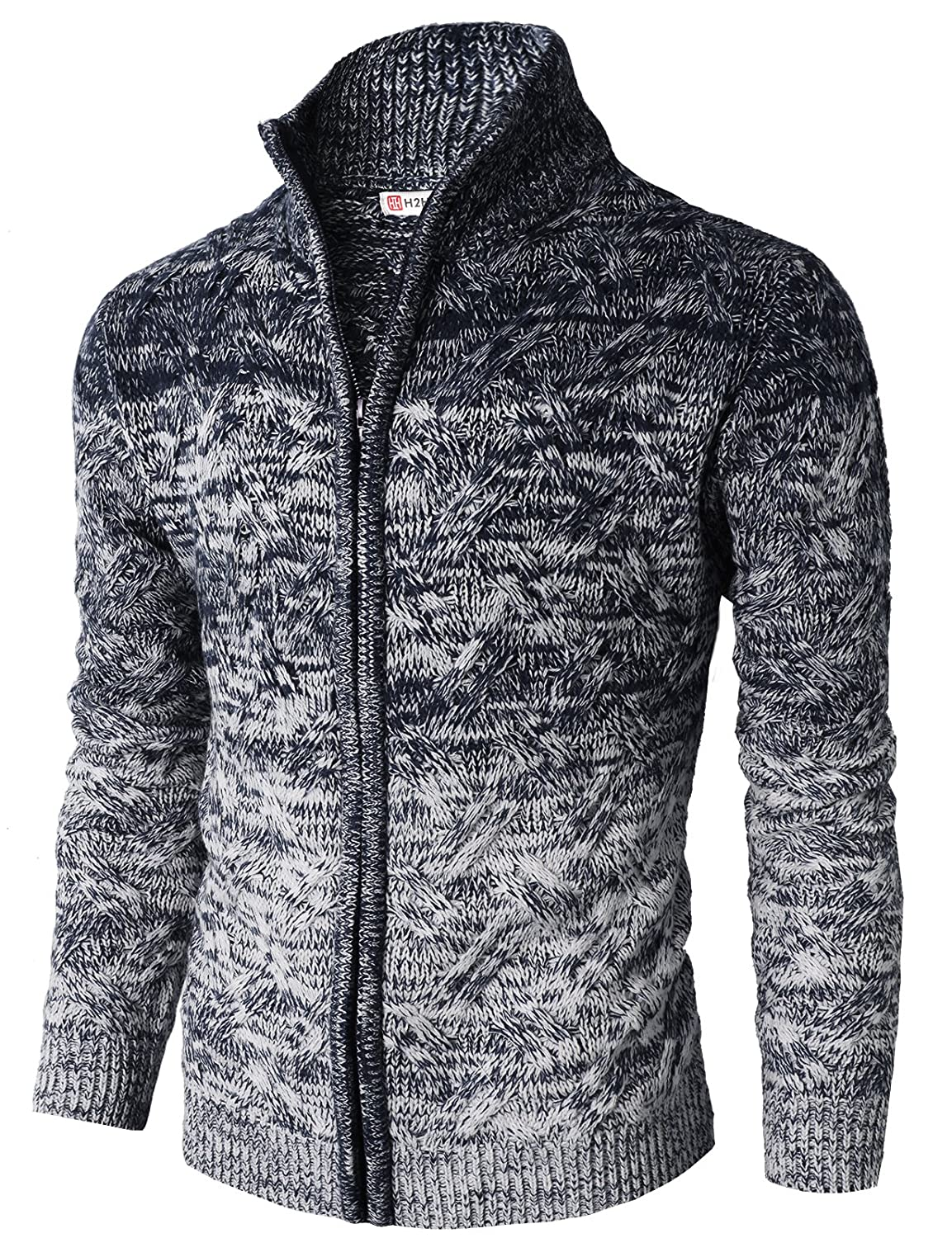 H2H Mens Casual Slim Fit Twisted Knit Zip up Cardigan with Gradation Color