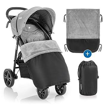 Zamboo - Manta Saco cubre pies Universal para Silla de Paseo y Cochecito de bebé - Exterior impermeable e Interior de forro polar - negro/gris