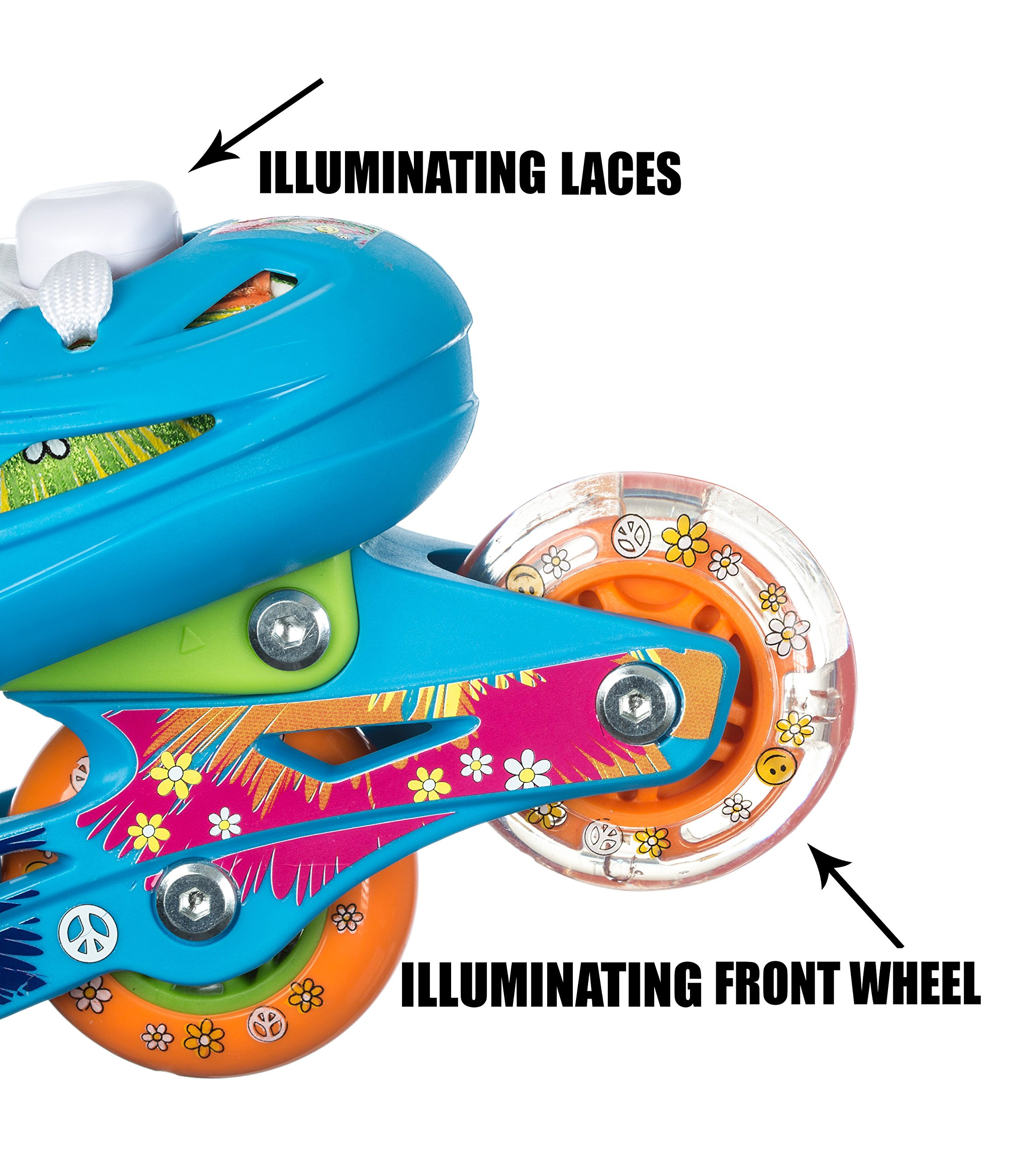 Titan Flower Power Princess Girls Inline Skates with LED Light-up Front Wheel and LED Laces, Multi-Color, Kid Size Small (Flower Power Princess Small Skates)