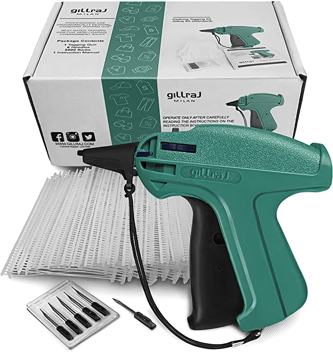 """Garment Clothing Price Label TAGGING TAG TAGGER GUN with 2/"""" 2000 BARBS 2 Needles"""