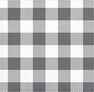 Gray and White Buffalo Check Beverage Napkins, 48 ct