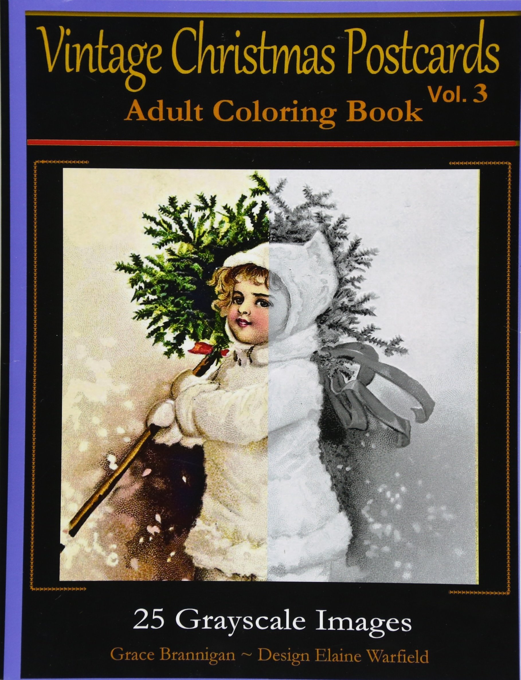 Download Vintage Christmas Postcards Vol 3 Adult Coloring Book: 25 Grayscale Images: Adult Coloring Book (Adult Coloring Books) (Volume 6) PDF