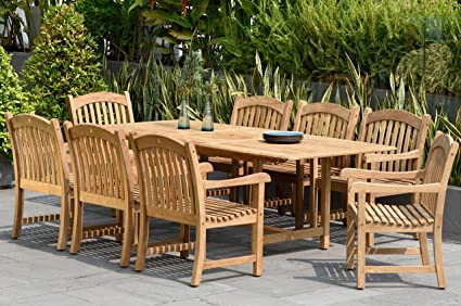 Amazonia Newcastle 9 Piece Outdoor Rectangular Dining Table Set Certified Teak Ideal For Patio And Indoors Light Brown Outdoor And Patio Furniture Sets Garden Outdoor