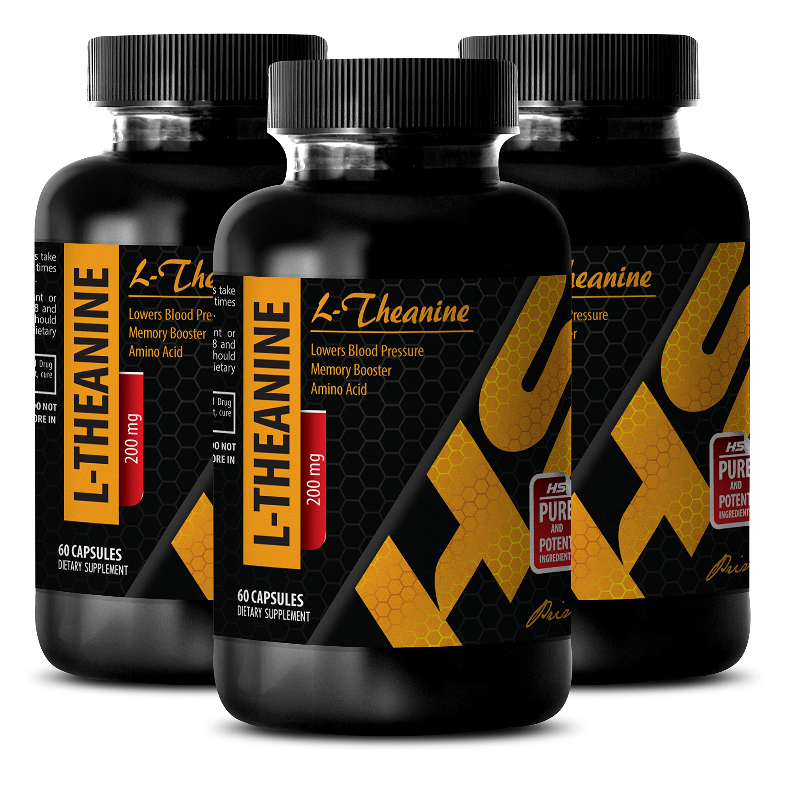Weight management products - L-Theanine 200MG - Theanine supplement - 3 Bottle (180 Capsules) by HS PRIME LLC