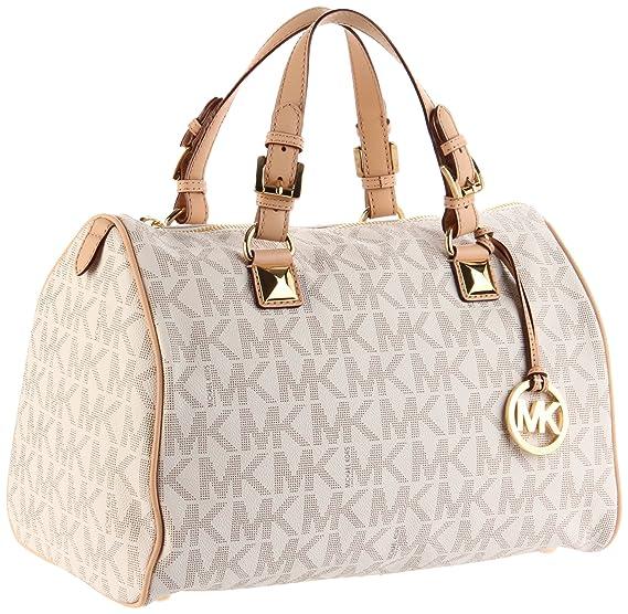 91fd847d31d7 discount new michael kors grayson medium satchel handbag mk signature pvc  vanilla wallet ff049 ddc8d  sale michael michael kors logo grayson large ...