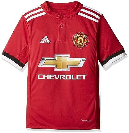 adidas MUFC H JSY Y Camiseta 1ª Equipación Manchester United 2017-2018, niños,