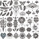 12 Sheets Black Henna Temporary Tattoos for Adults Women Girls, Feather Mandala Flower Body Art Large Big Arm Tattoos Lace Me