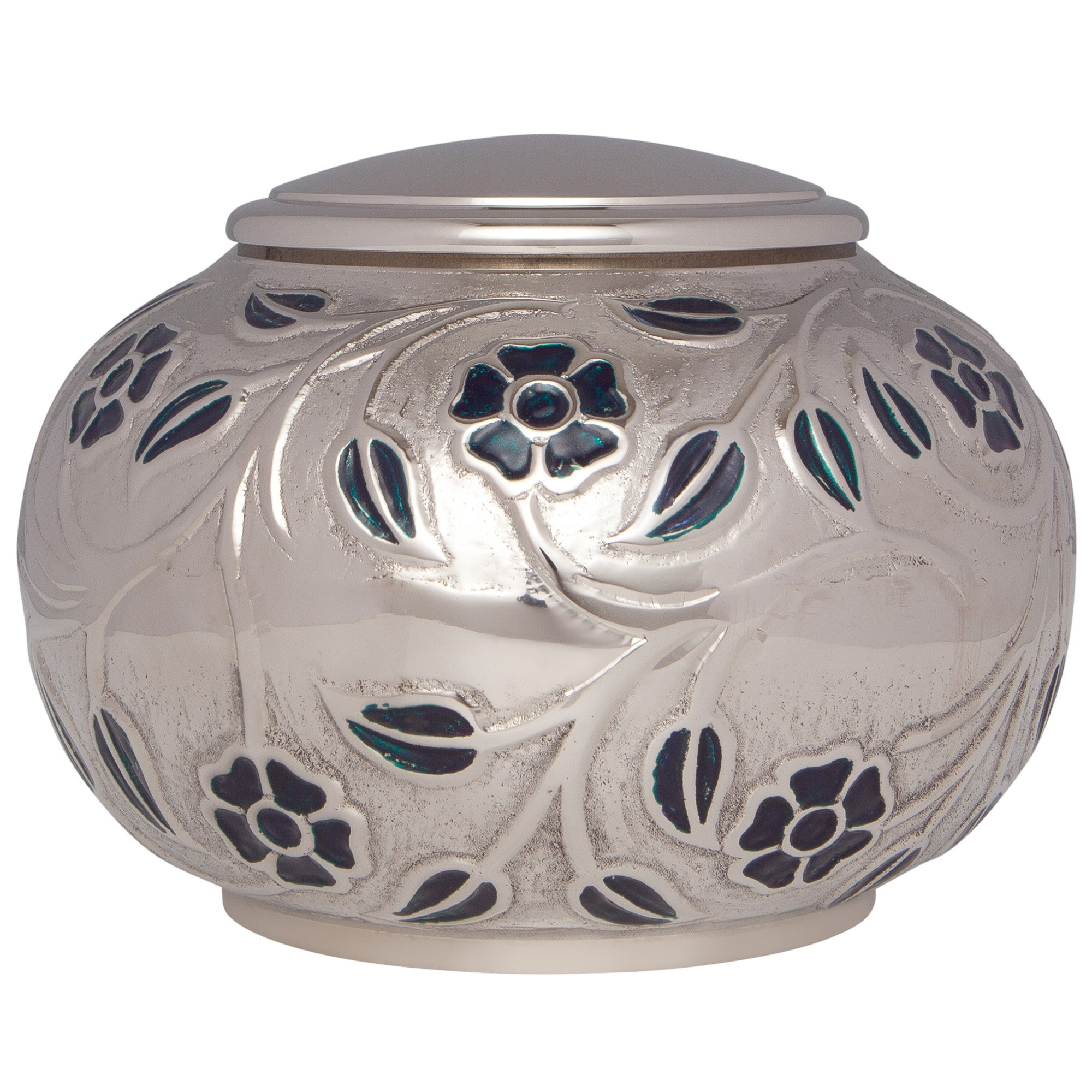 Silver Vines Funeral Urn by Liliane Memorials - Cremation Urn for Human Ashes - Hand Made in Brass - Suitable for Cemetery Burial or Niche - Large Size fits remains of Adults up to 180 lbs by Liliane Memorials (Image #1)
