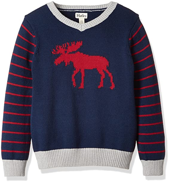 81829ca203a5 Amazon.com  Hatley Sweater V Neck Moose 8