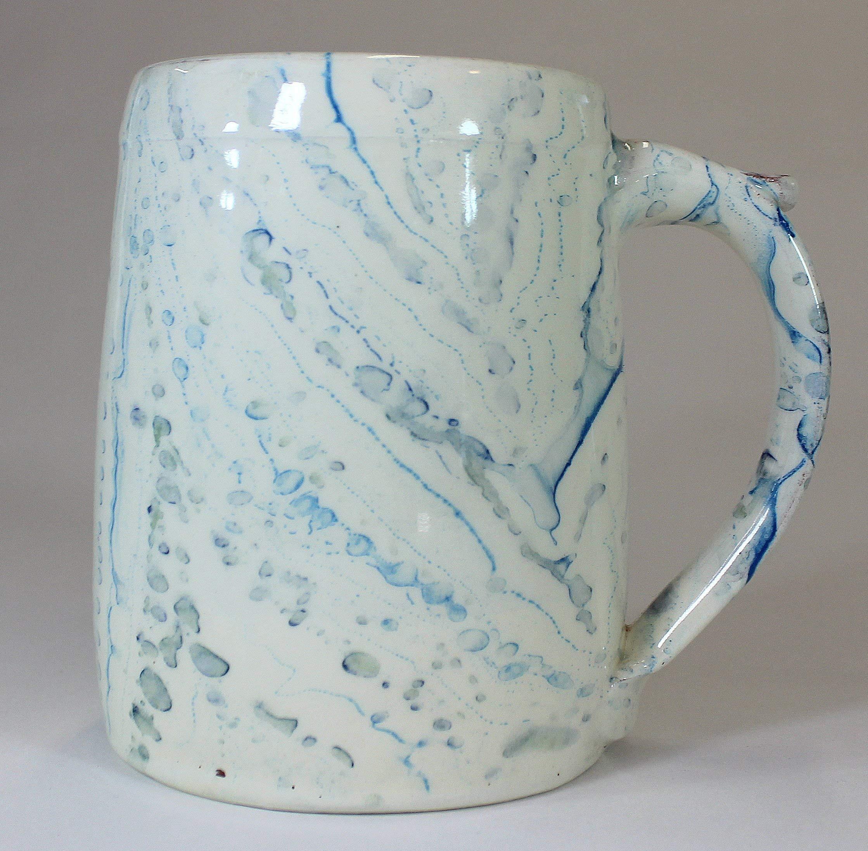 Blue Marbled Earthenware Tankard