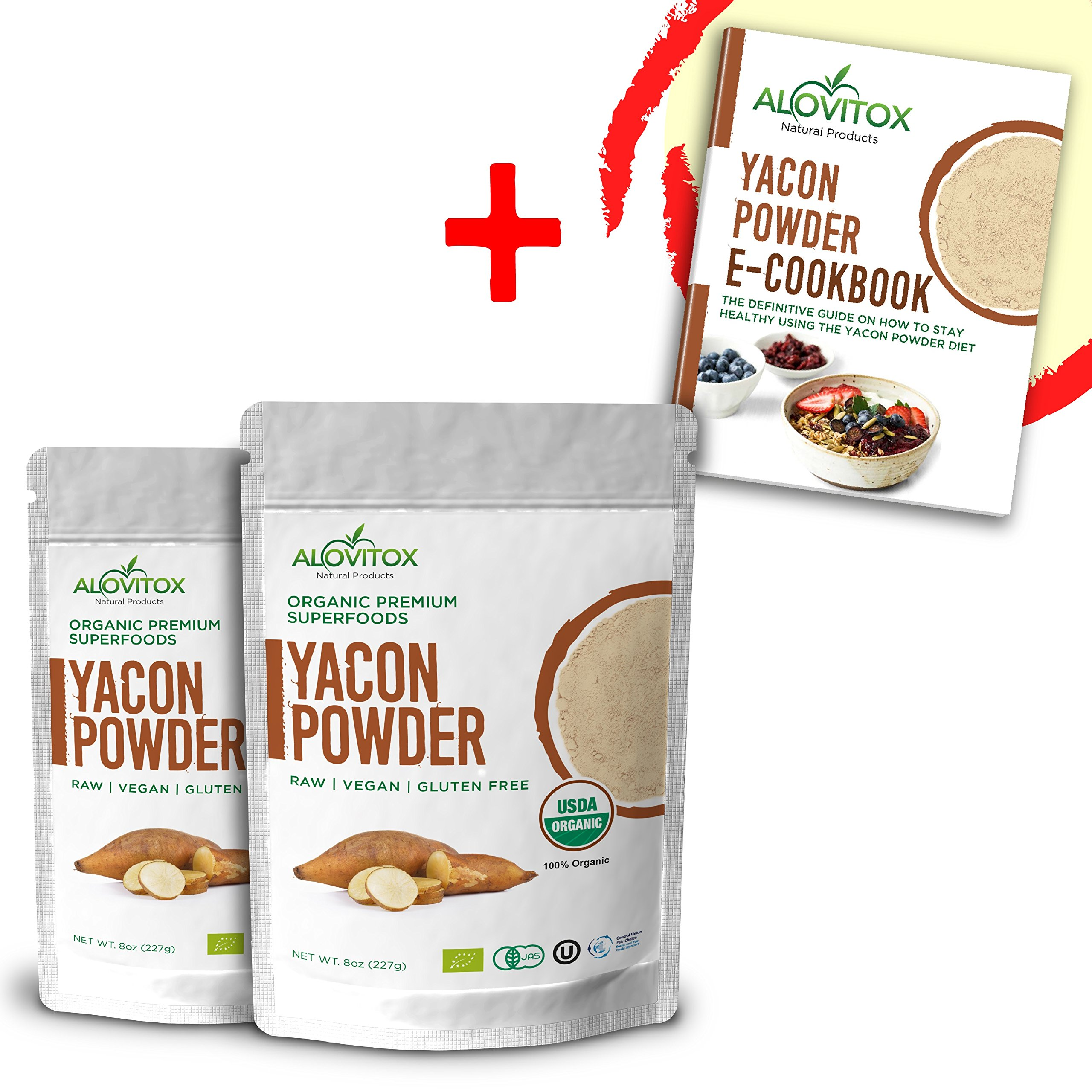 Yacon Root Powder Natural Sweetener - Sugar Substitute Sugar-Free Keto Paleo and Vegan - Wellness and Weightloss Prebiotic Diet Friendly Pure Raw Plant Extract - USDA Organic 8oz by Alovitox (2 Pack)