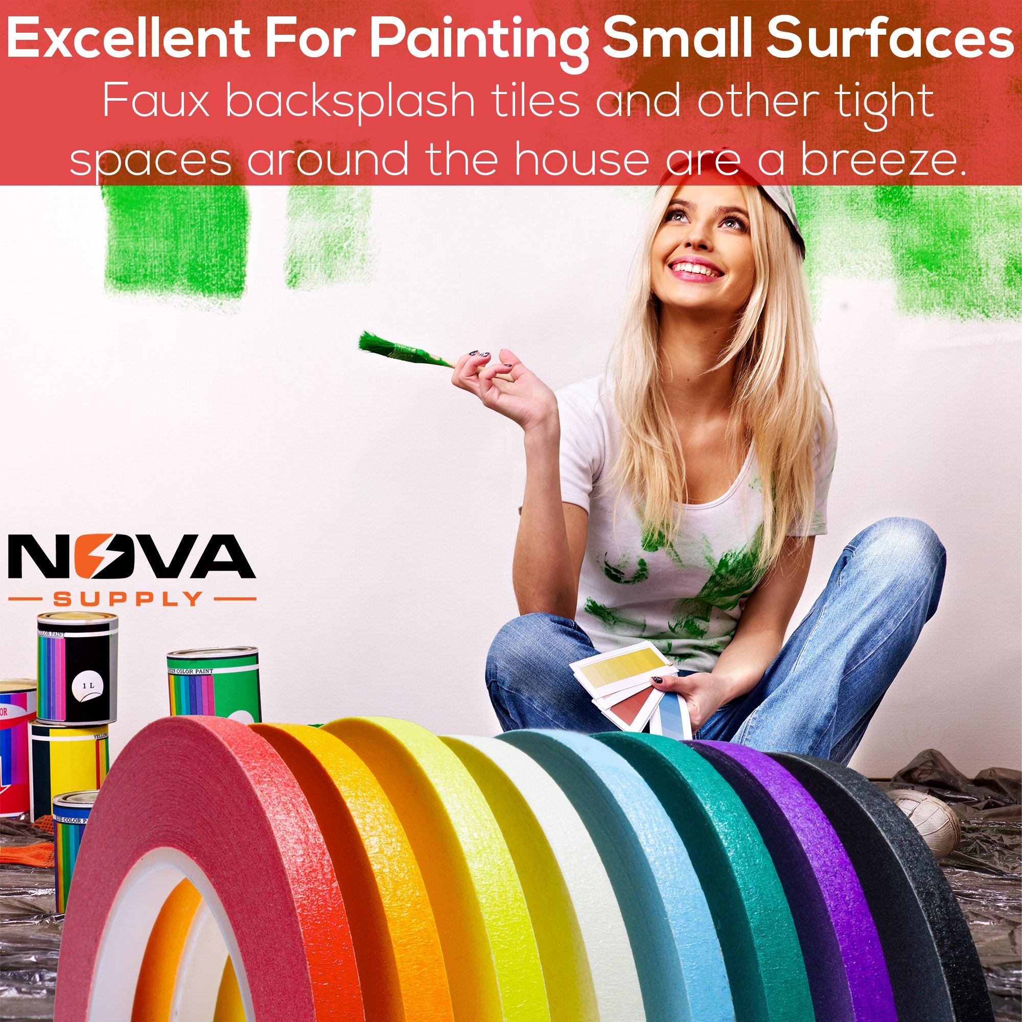 Nova Supplys 1/4in x 60yd Masking Tape, 8 Color Value Pack. Professional Grade Adhesive is Super Thin, Conforms to Irregular Surfaces, Is Easy to Tear & Release for Labeling, Painting, & Decorating. by Nova (Image #5)