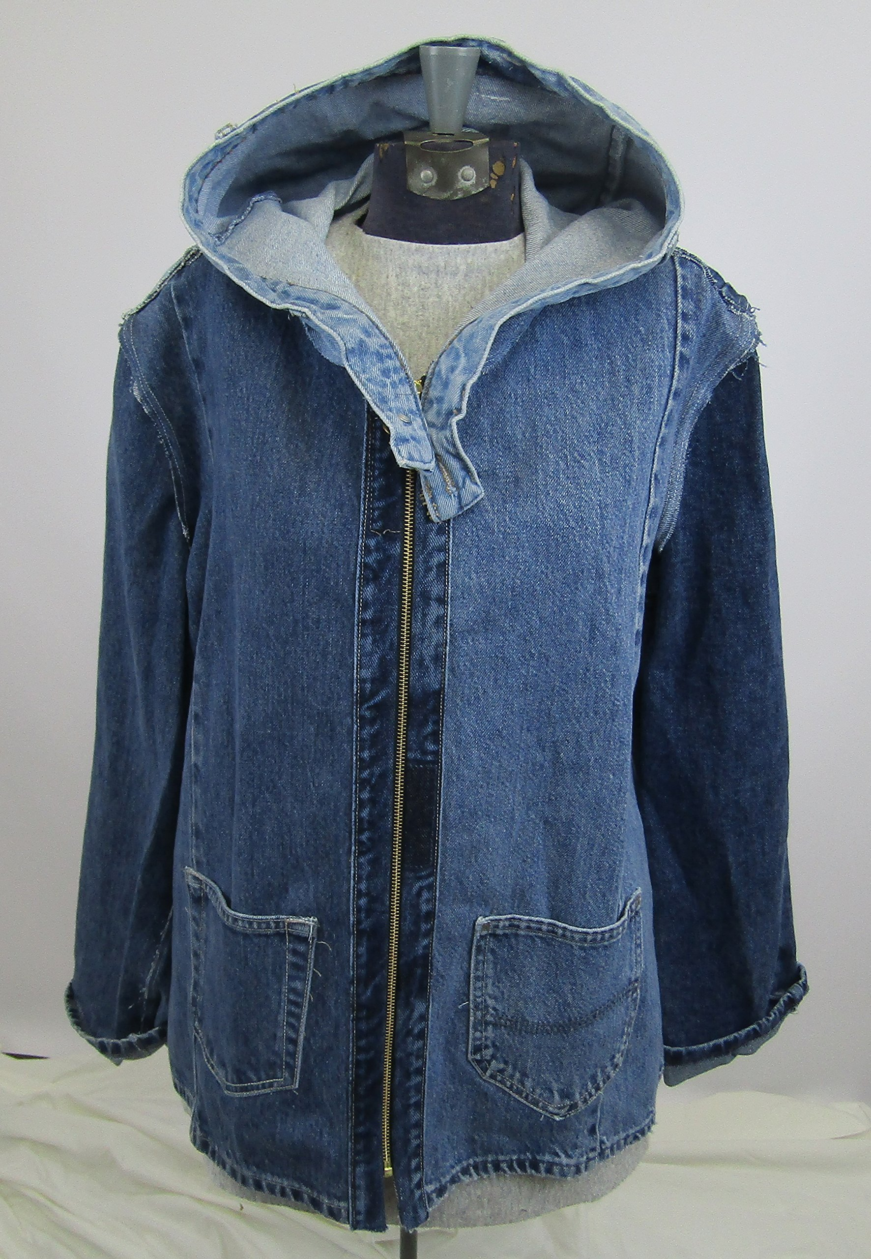 Hooded Denim Jacket Large made from upcycled jeans