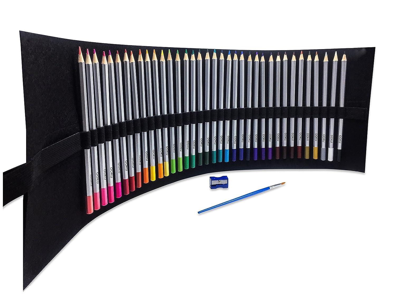 OOKU Watercolor Pencils - 36 Dry Coloring Pencils/Wet Watercolor Painting - Bonus Wool Pencil Canvas Wrap, Watercolor Brush, Pencil Sharpener for Full 39 Piece Artist Set OOK-WATERCLR-PENCIL-NQ-36P