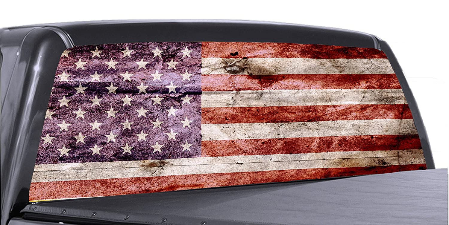 Amazon com 60 x 20 american flag distressed truck rear window tint perforated vinyl graphic automotive