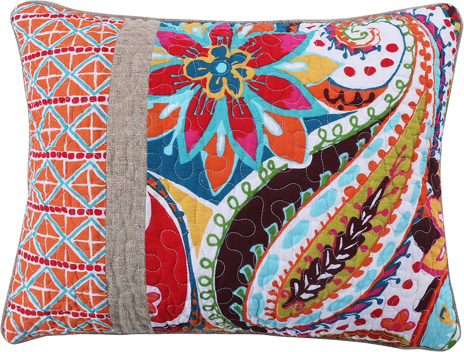 Levtex Home - Rhapsody - Pieced Quilted Pillow (14 X 18in.) - Multi Paisley - Yellow, Orange, Red, Green and Blues - Feather Filled