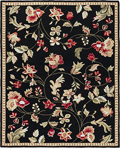 Surya Flor Transitional Hand Hooked 100 Wool Caviar 8' x 10' Floral Area Rug