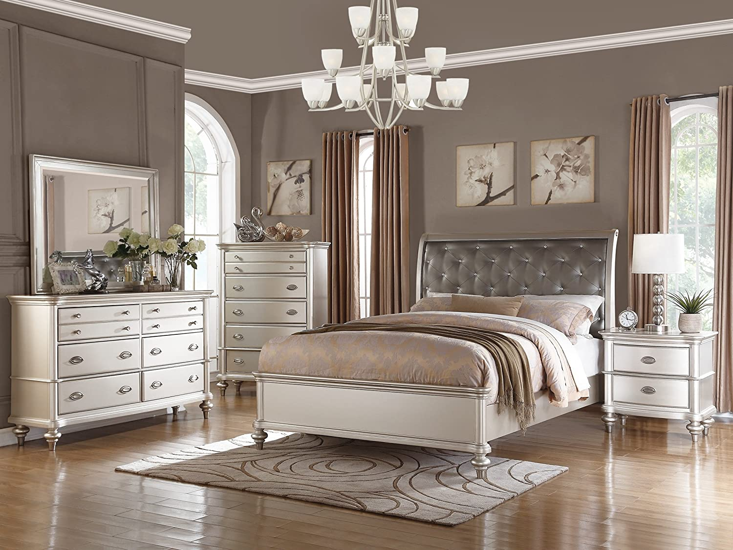 Amazon Com Traditional Formal Look Silver Magical Bedroom Furniture