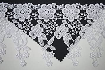 Altotux 2.75 White Organza Bridal Beaded Sequins Embroidery Corded Lace by Yard