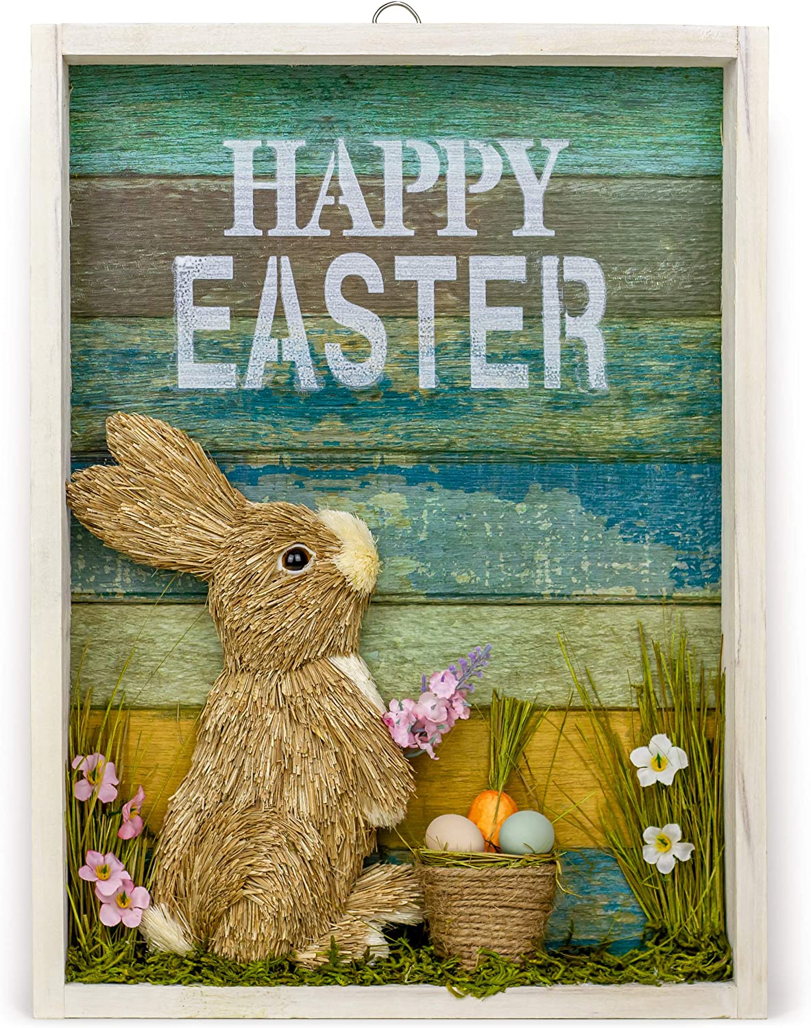 AXI Happy Easter Decor, Spring Decorations for Home. Usable As Standing or Hanging Easter Wall Decoration. 16x12 Unique Handmade Design with Bright Colours. Nice Easter Gift.