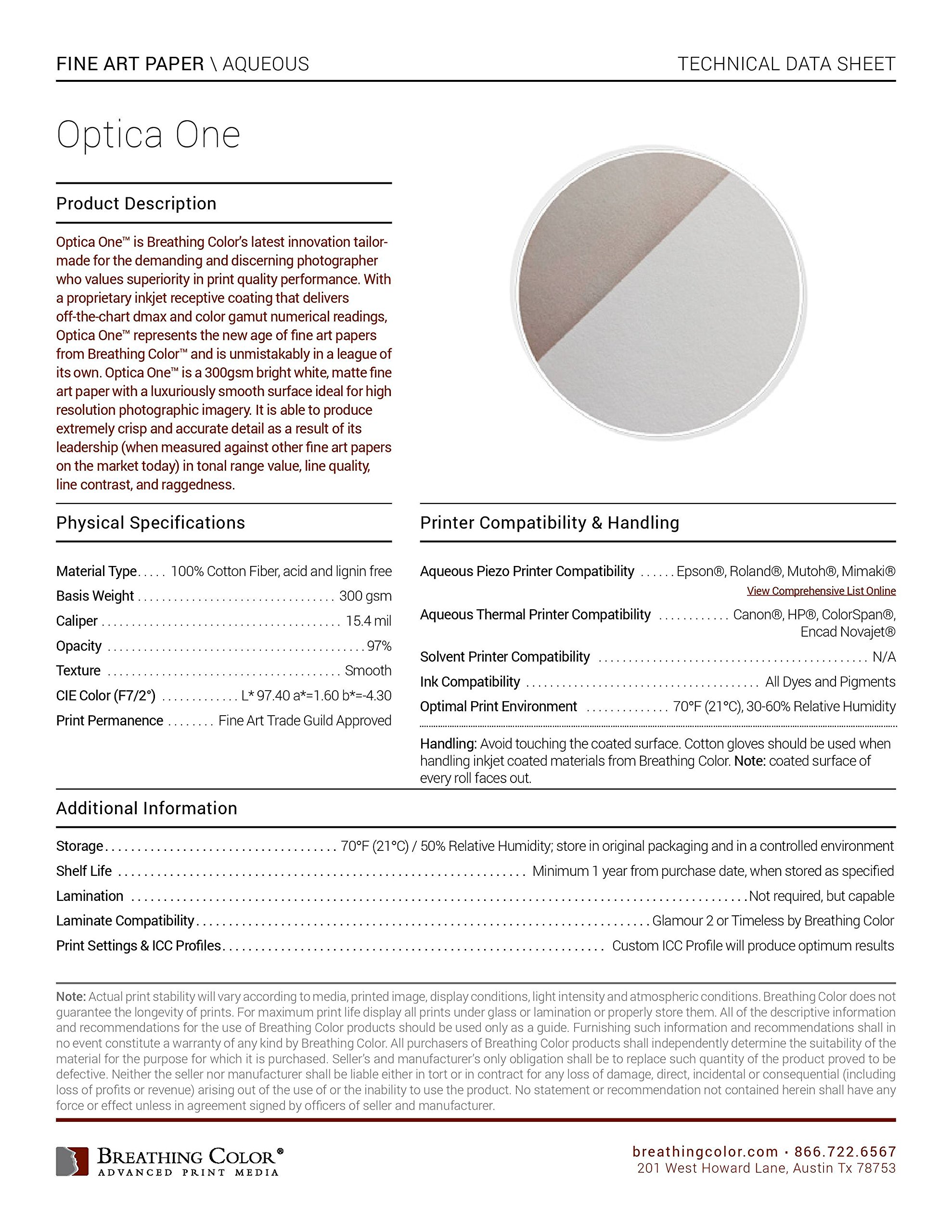 Optica One - Matte, 15.4 mil, 300gsm, Bright White, Fine Art Inkjet Paper, 44'' x 40' roll by Breathing Color (Image #3)
