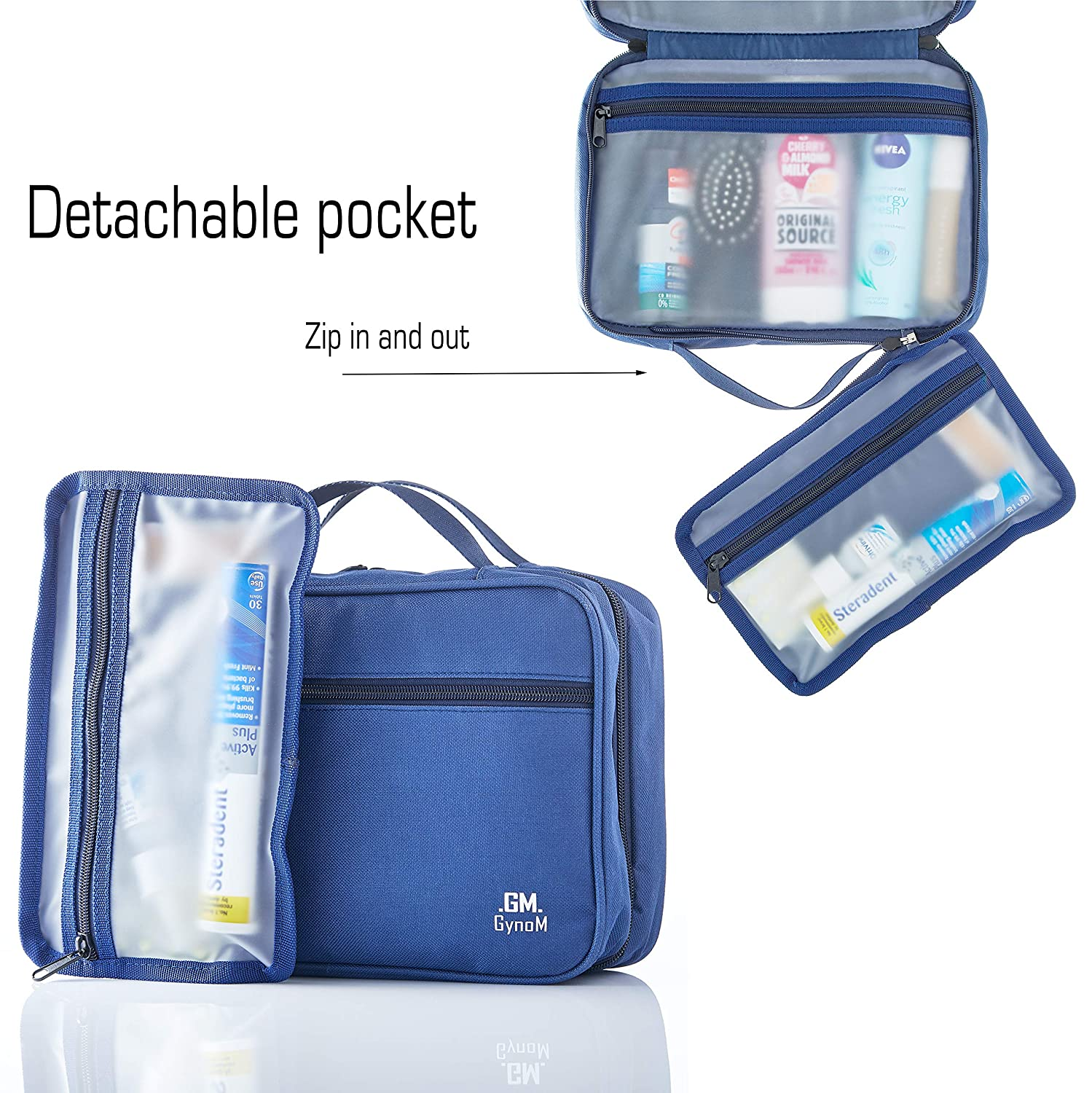 68360de00272 Hanging Toiletry Travel Bag by GYNOM | Compact Toiletry Bag with Waterproof  Zippered pockets, mesh...