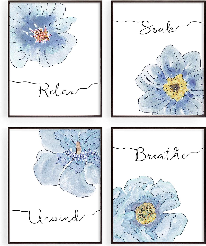 Blue Boho Bathroom Wall Decor, Relax Soak Unwind Breathe Wall Art Prints for Bathroom Accessories, Minimalist Watercolor Flower Wall Pictures, Salon SPA Wall Decoration, Set of 4, 8