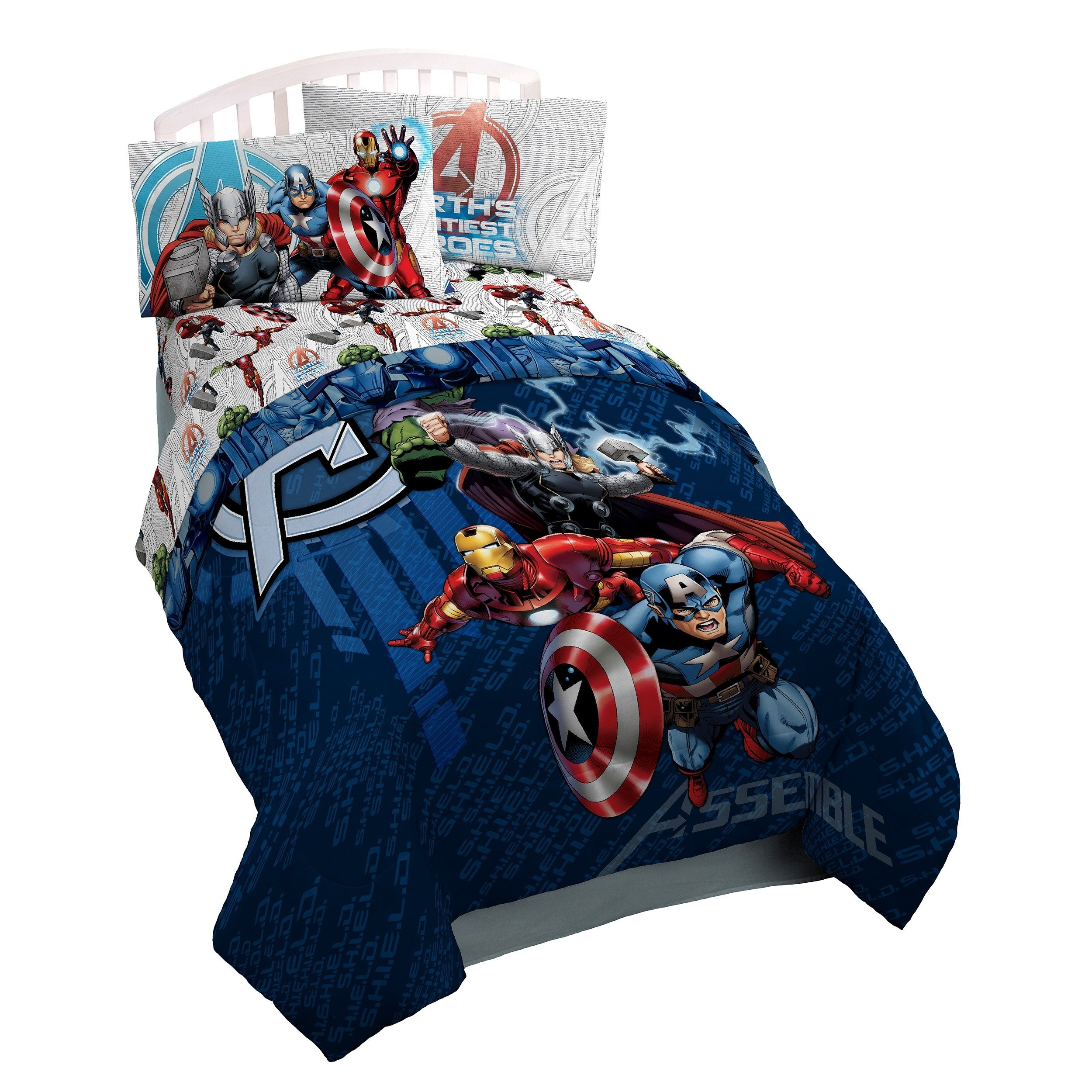 LO 1 Piece Blue Kids Marvel Avengers Themed Comforter Full Sized, Fun Action Packed Super Hero Power Bedding, Playful Characters The Hulk Green Captain America Ironman Red Theme Pattern, Polyester by LO