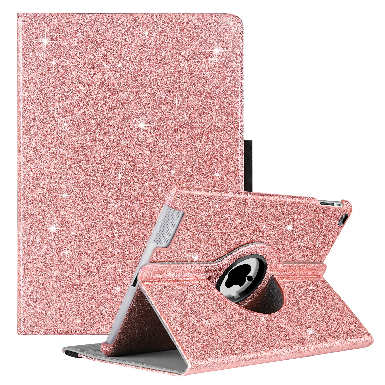 GUAGUA iPad 2 Case iPad 3 Case iPad 4 Case Glitter Sparkly 360 Degree Rotating Stand Full Body Cover Luxury PU Leather Stylus Holder Smart Auto Wake/Sleep Protective Case for iPad 2/3/4 Rose Gold