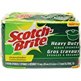 Scotch-Brite MMMHD3 Heavy Duty Scrub Sponge, Yellow & Green, 3 Per Pack