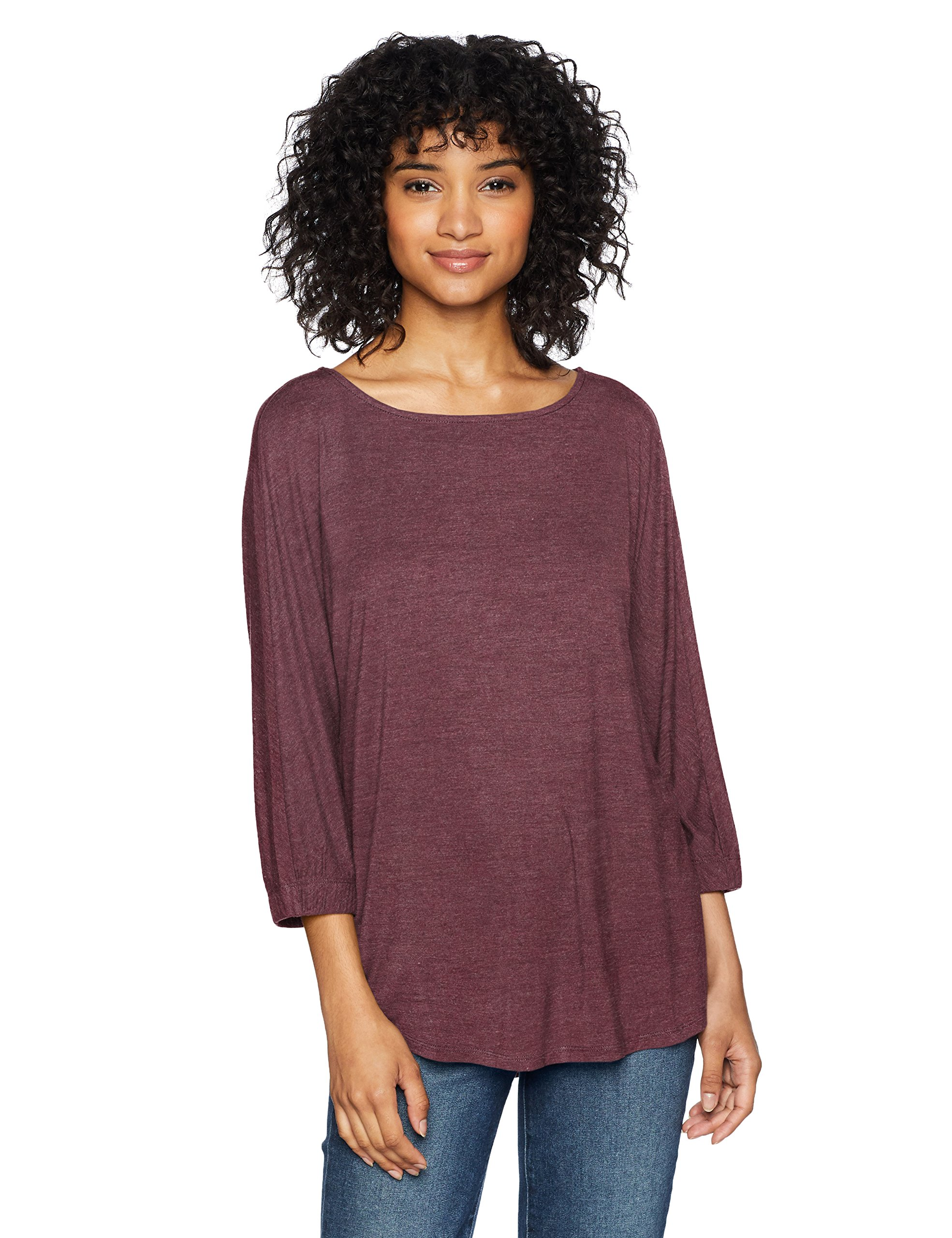 Daily Ritual Women's Jersey Bunch-Sleeve Top, Purple Heather, Large by Daily Ritual