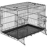 tectake Cage de Transport pour Chien-Box grillagé   2 Grandes Portes équipées de verrous   Pliant - diverses Tailles au Choix (89 x 58 x 65 cm   no. 402295)