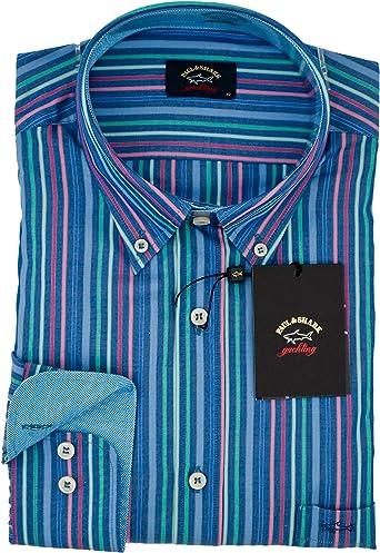 PAUL & SHARK - Camisa Casual - para Hombre BLU A Righe 43: Amazon.es: Ropa y accesorios