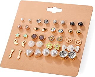 Unique Queen Women's Girl's Stainless Steel Assorted Multiple Stud Earring 20 Style Sets,Hypoallergenic Hypoallergenic (Style-1) B076HNC9X7_US