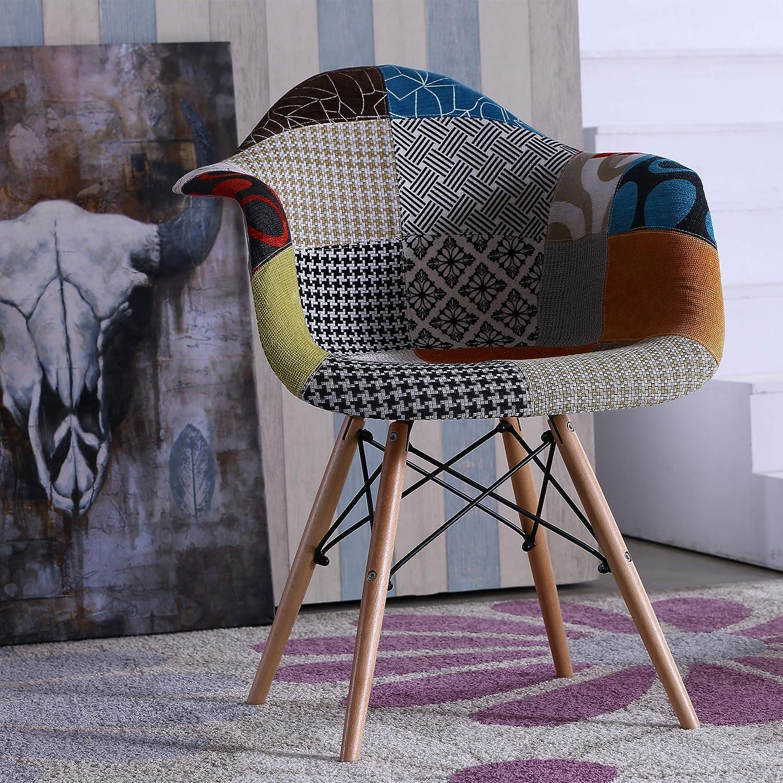 Homely - Sillón CHAPELLE tapizado Tela Patchwork inspiración ...
