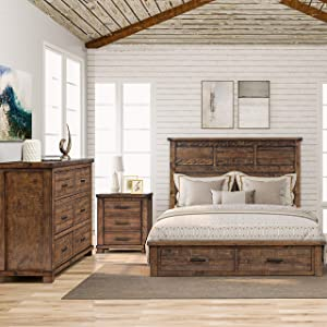LZ LEISURE ZONE Bedroom Sets, 3 Pieces Bedroom Sets with Queen Size Bed, Night Stand and Dresser, Rustic Reclaimed Solid Wood Framhouse Bed Room Set (3 PC Set)