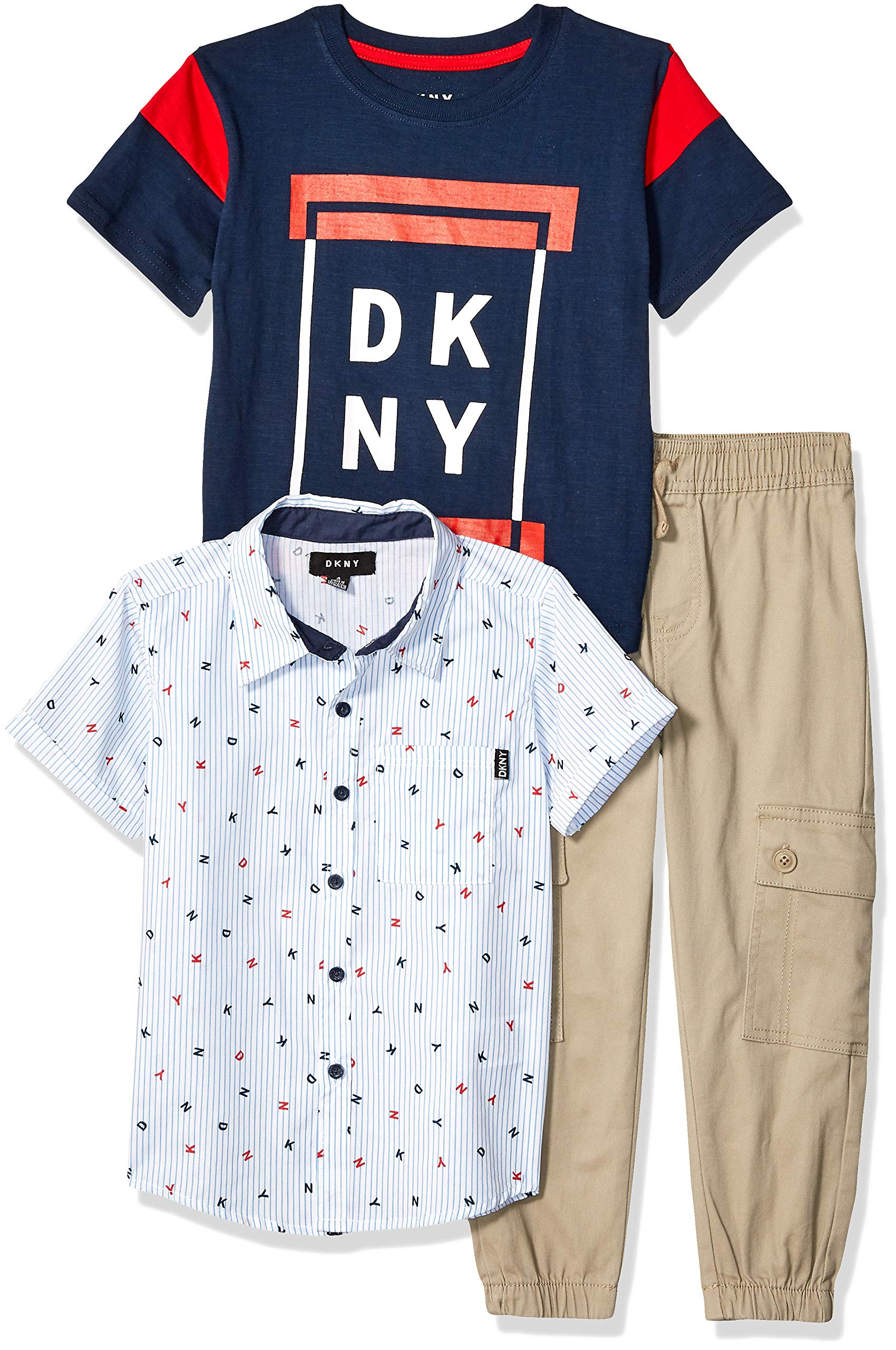 DKNY Boys' Little Short Sleeve Woven, T-Shirt, and Pull-On Pant, Letter Mouse, 7
