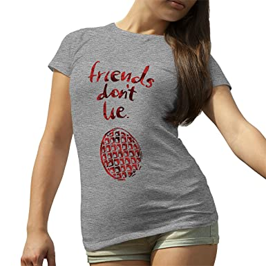 Friends Dont Lie by Stranger Things Grey T-Shirt for Ladies Small